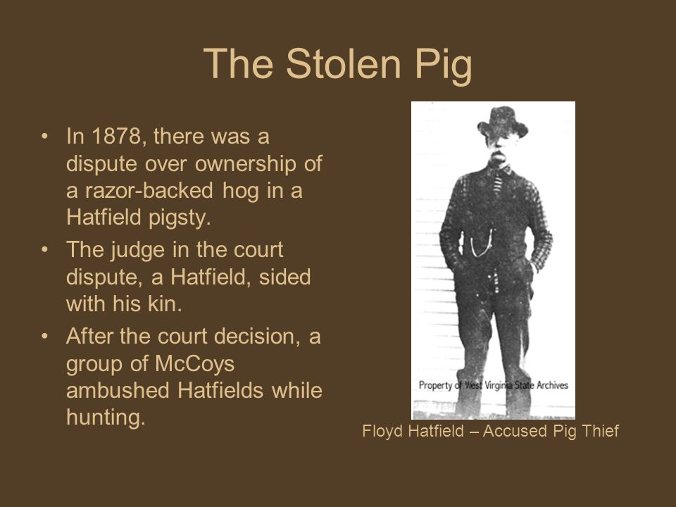 The Stolen Pig In 1878, there was a dispute over ownership of a razor-backed hog in a Hatfield pigsty.