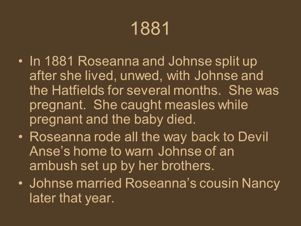 1882 On August 9, Bud, Tolbert, and Pharmer McCoy killed Ellison Hatfield.