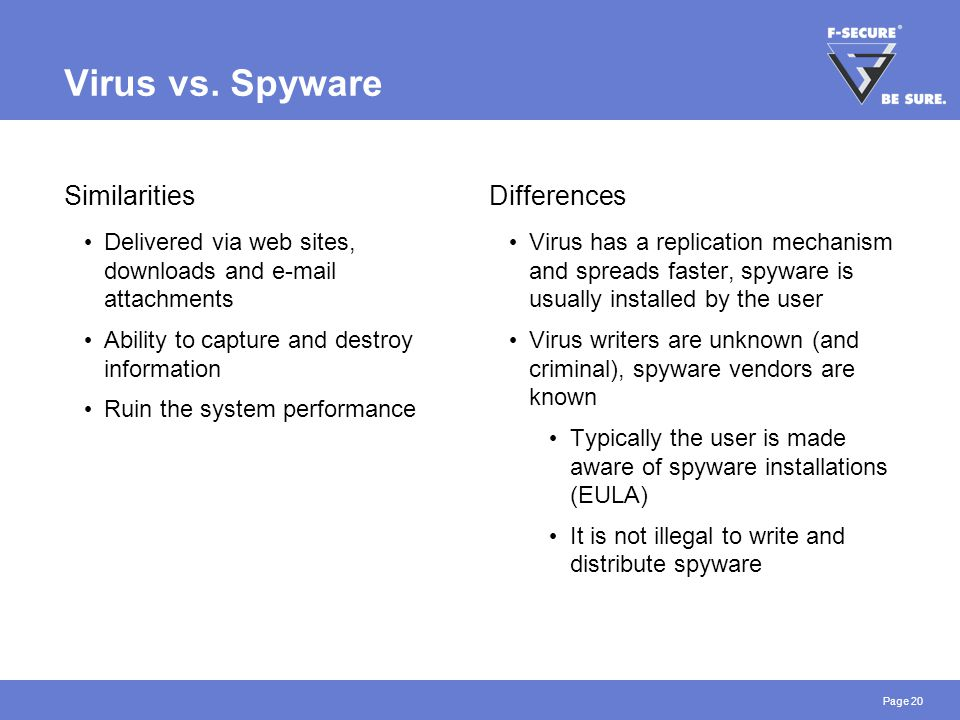 Page 20 Virus vs. Spyware Similarities Delivered via web sites, downloads and e-mail attachments Ability to capture and destroy information Ruin the s
