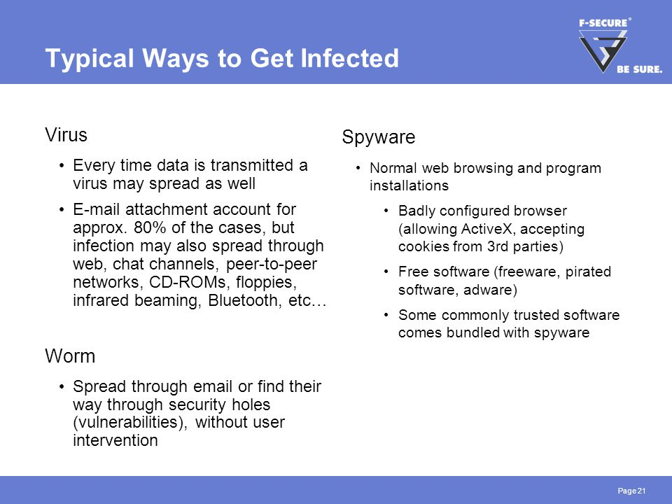 Page 21 Typical Ways to Get Infected Virus Every time data is transmitted a virus may spread as well E-mail attachment account for approx.