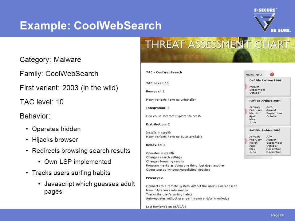 Page 24 Example: CoolWebSearch Category: Malware Family: CoolWebSearch First variant: 2003 (in the wild) TAC level: 10 Behavior: Operates hidden Hijacks browser Redirects browsing search results Own LSP implemented Tracks users surfing habits Javascript which guesses adult pages