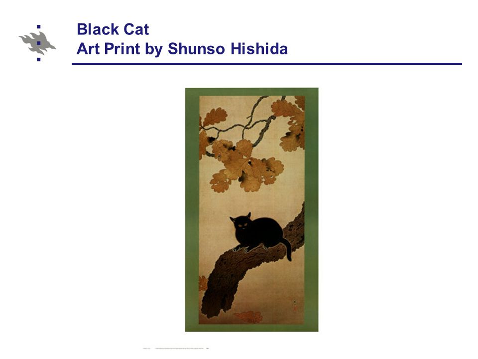 Black Cat Art Print by Shunso Hishida