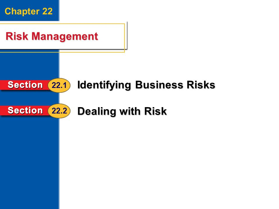 Risk Management 2 Chapter 22 Risk Management Identifying Business Risks Dealing with Risk 22.1 22.2