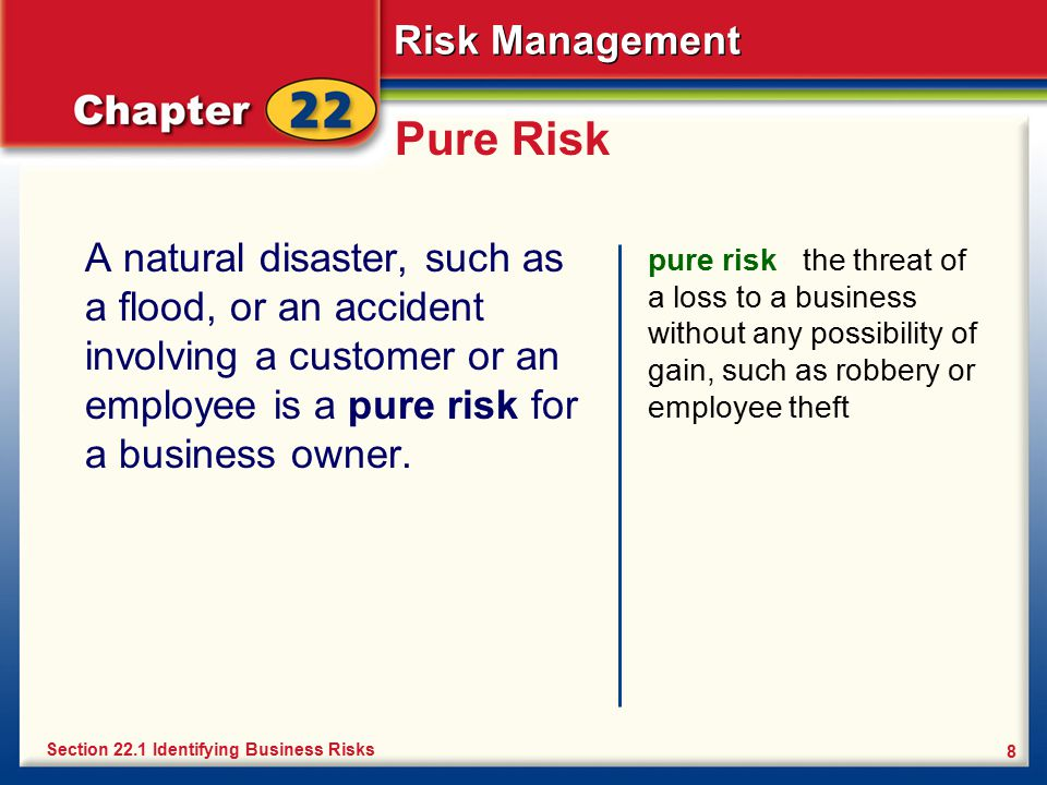 Risk Management 8 Pure Risk A natural disaster, such as a flood, or an accident involving a customer or an employee is a pure risk for a business owne