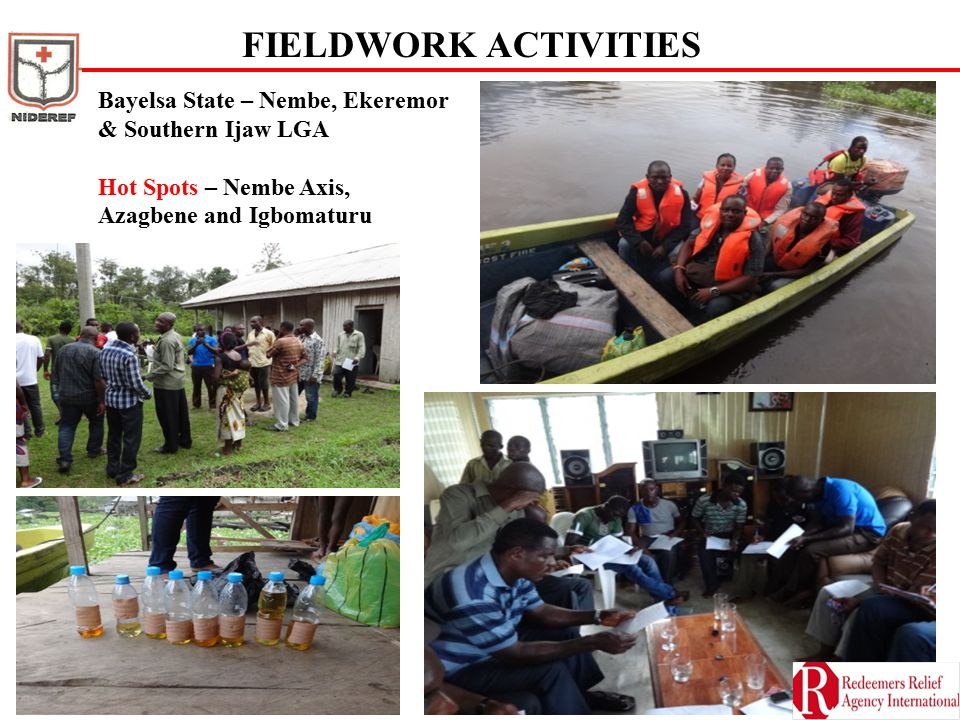 FIELDWORK ACTIVITIES Bayelsa State – Nembe, Ekeremor & Southern Ijaw LGA Hot Spots – Nembe Axis, Azagbene and Igbomaturu