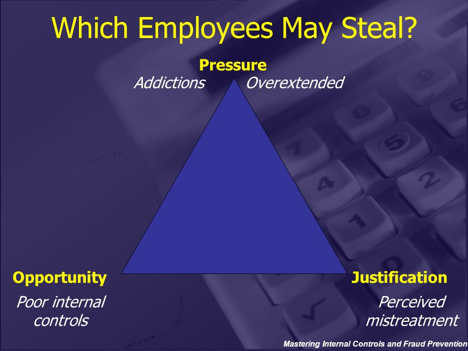 Mastering Internal Controls and Fraud Prevention Which Employees May Steal? Pressure OpportunityJustification Poor internal controls AddictionsOverext