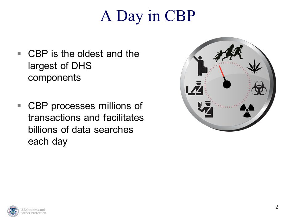 CCBP is the oldest and the largest of DHS components CCBP processes millions of transactions and facilitates billions of data searches each day A Day in CBP 2