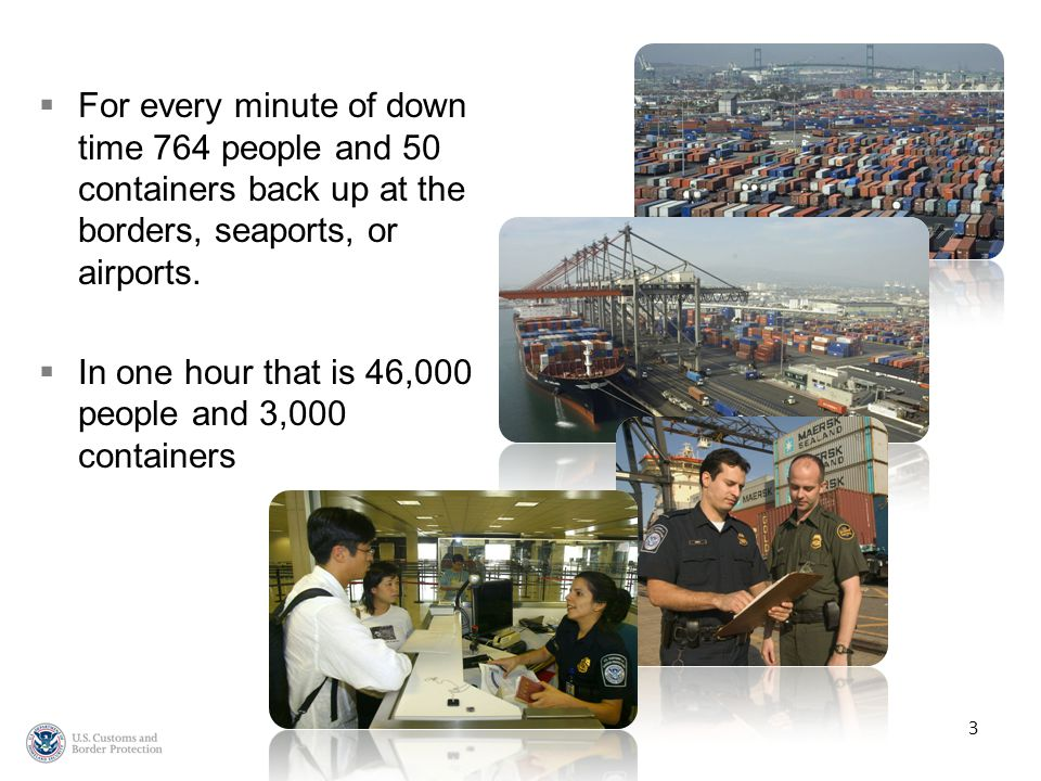FFor every minute of down time 764 people and 50 containers back up at the borders, seaports, or airports.