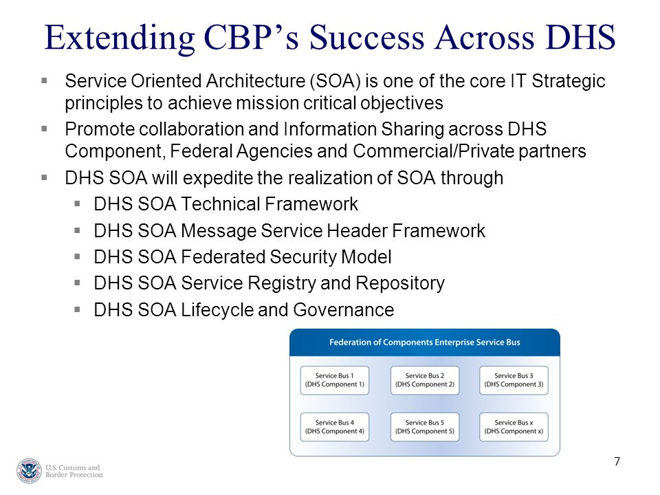 7 Extending CBP's Success Across DHS  Service Oriented Architecture (SOA) is one of the core IT Strategic principles to achieve mission critical objectives  Promote collaboration and Information Sharing across DHS Component, Federal Agencies and Commercial/Private partners  DHS SOA will expedite the realization of SOA through  DHS SOA Technical Framework  DHS SOA Message Service Header Framework  DHS SOA Federated Security Model  DHS SOA Service Registry and Repository  DHS SOA Lifecycle and Governance