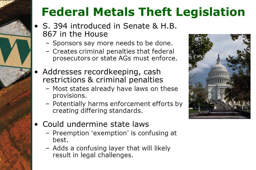 Federal Metals Theft Legislation S.394 introduced in Senate & H.B.