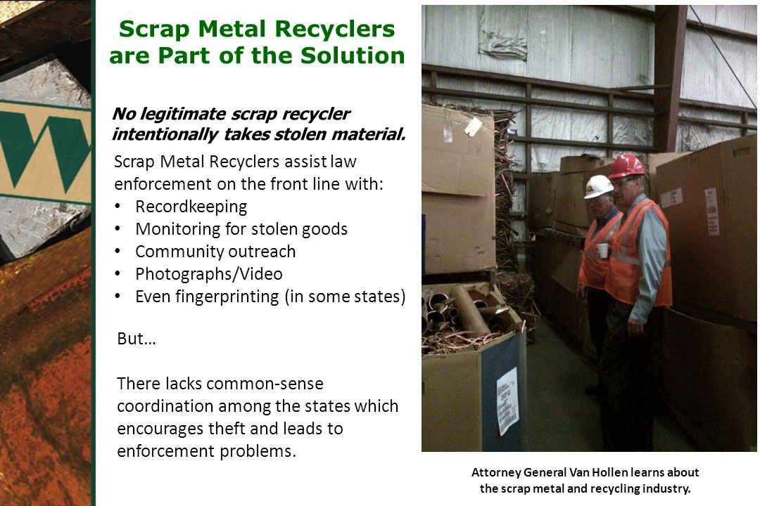 Attorney General Van Hollen learns about the scrap metal and recycling industry.