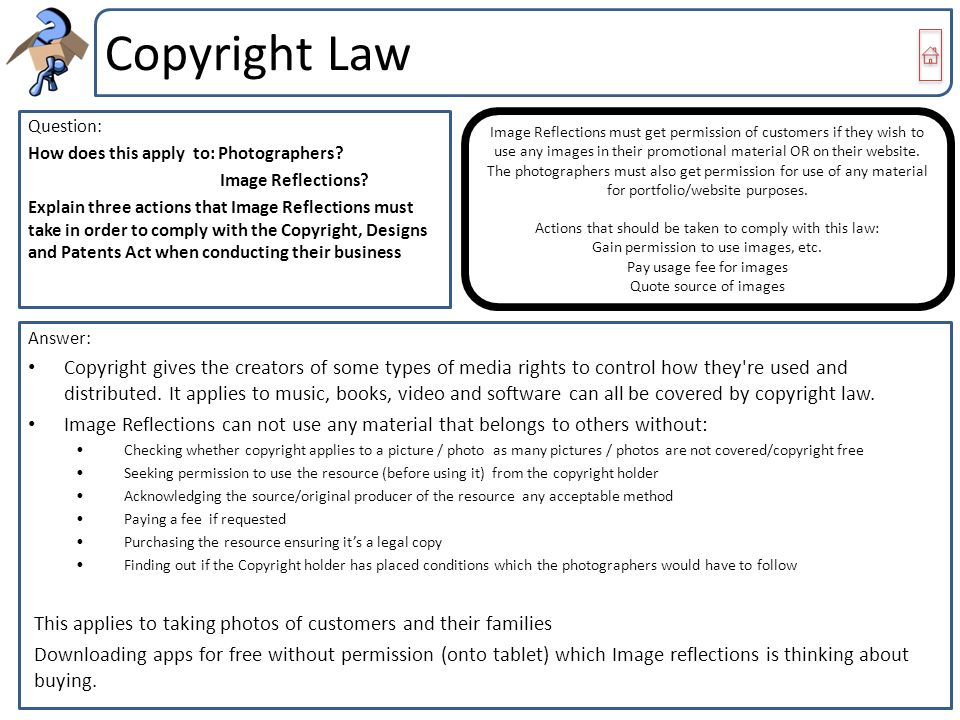Copyright Law Question: How does this apply to: Photographers? Image Reflections? Explain three actions that Image Reflections must take in order to c