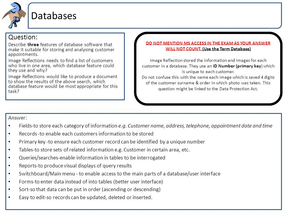 Databases Question: Describe three features of database software that make it suitable for storing and analysing customer appointments. Image Reflecti