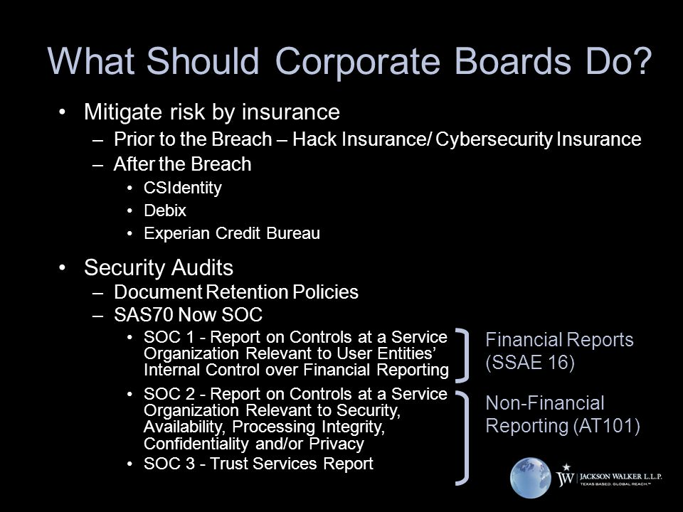 What Should Corporate Boards Do? Mitigate risk by insurance –Prior to the Breach – Hack Insurance/ Cybersecurity Insurance –After the Breach CSIdentit