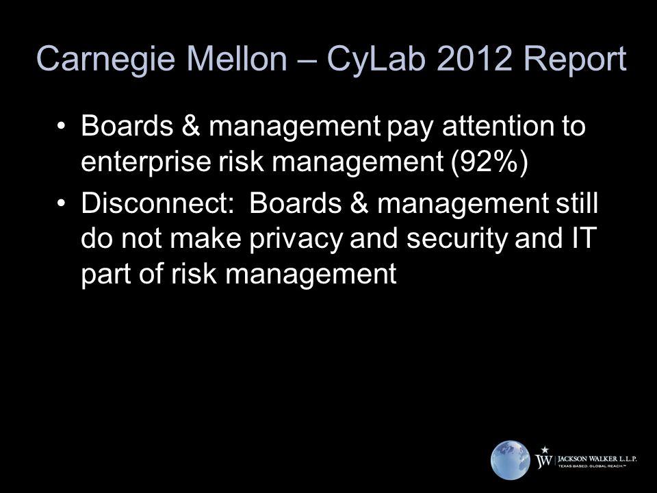 Carnegie Mellon – CyLab 2012 Report Boards & management pay attention to enterprise risk management (92%) Disconnect: Boards & management still do not