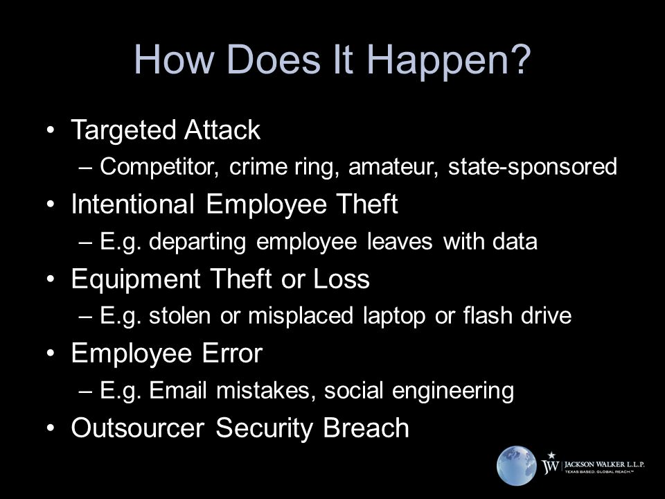 How Does It Happen? Targeted Attack –Competitor, crime ring, amateur, state-sponsored Intentional Employee Theft –E.g. departing employee leaves with