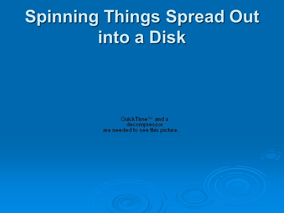 Spinning Things Spread Out into a Disk