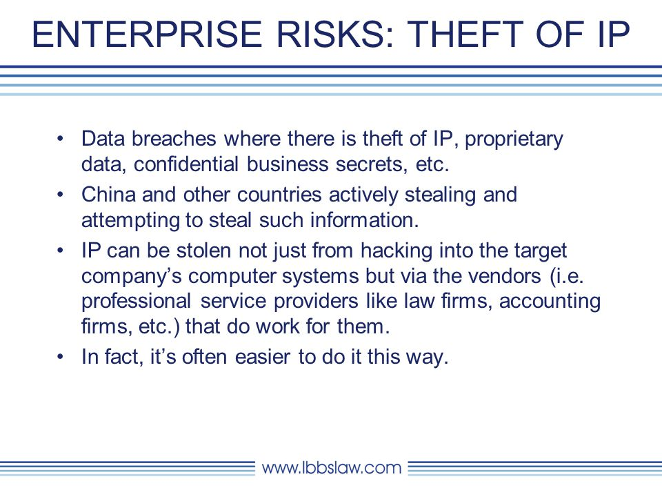 ENTERPRISE RISKS: STOLEN CUSTOMER INFORMATION Data breaches, where customers personal information (health, financial, employment records, social security numbers, credit card information, etc.) is stolen.
