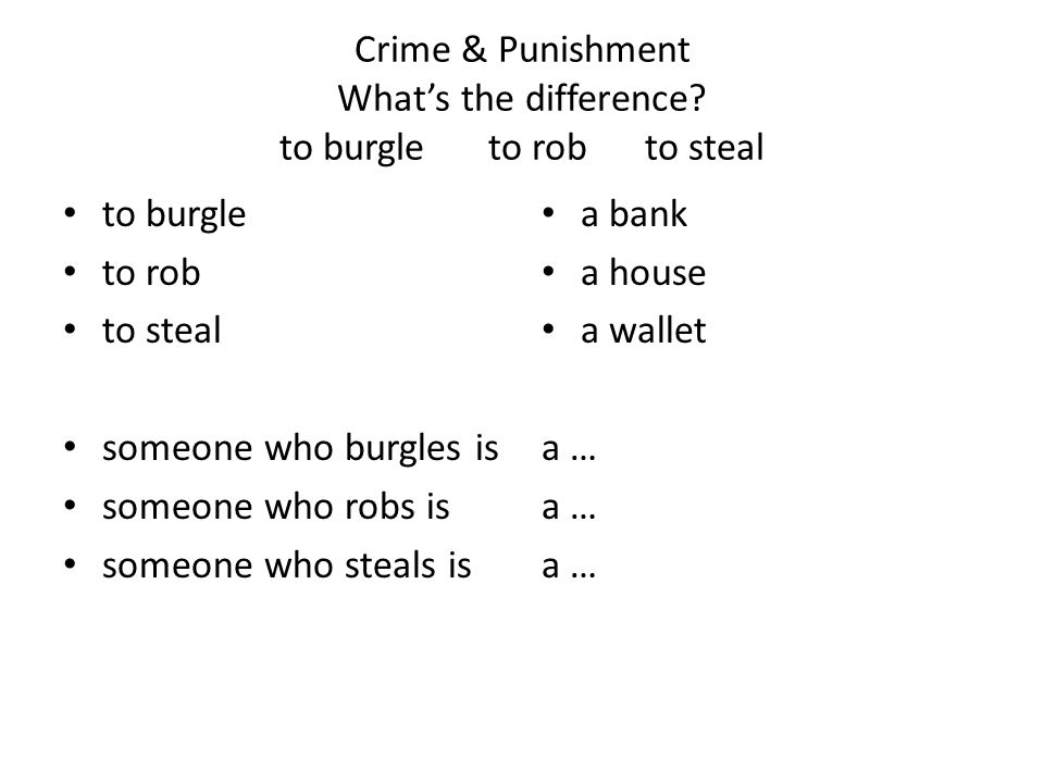Crime & Punishment What's the difference.