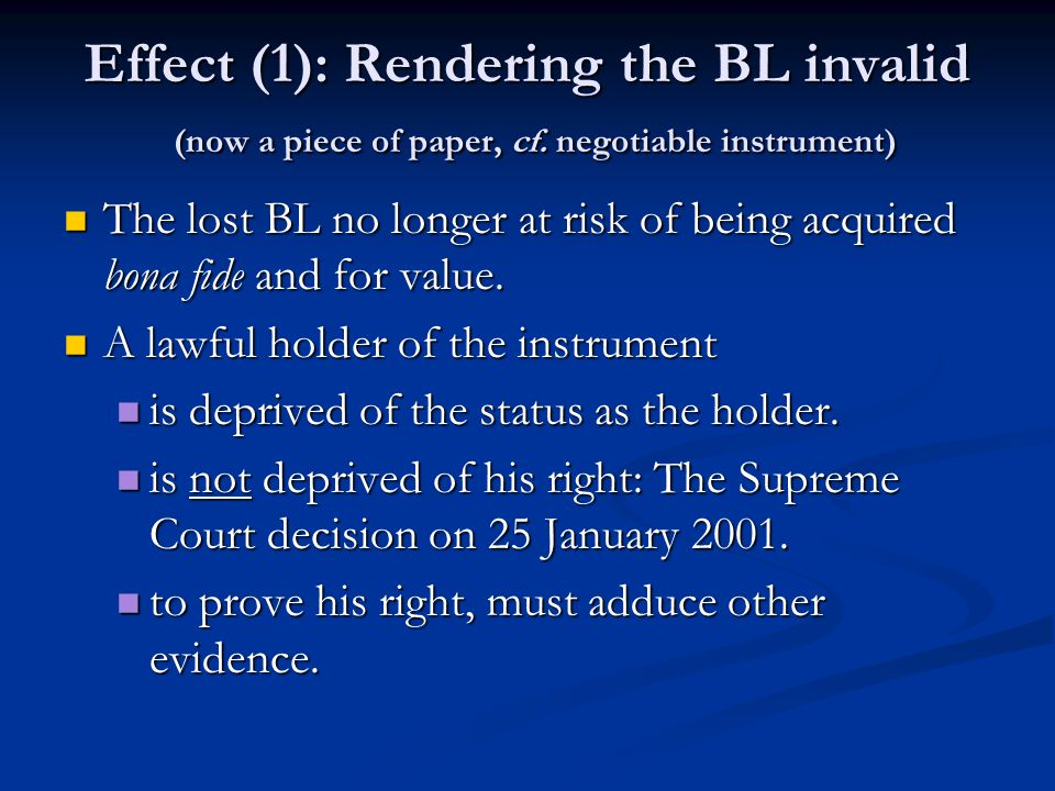 Effect (1): Rendering the BL invalid (now a piece of paper, cf.
