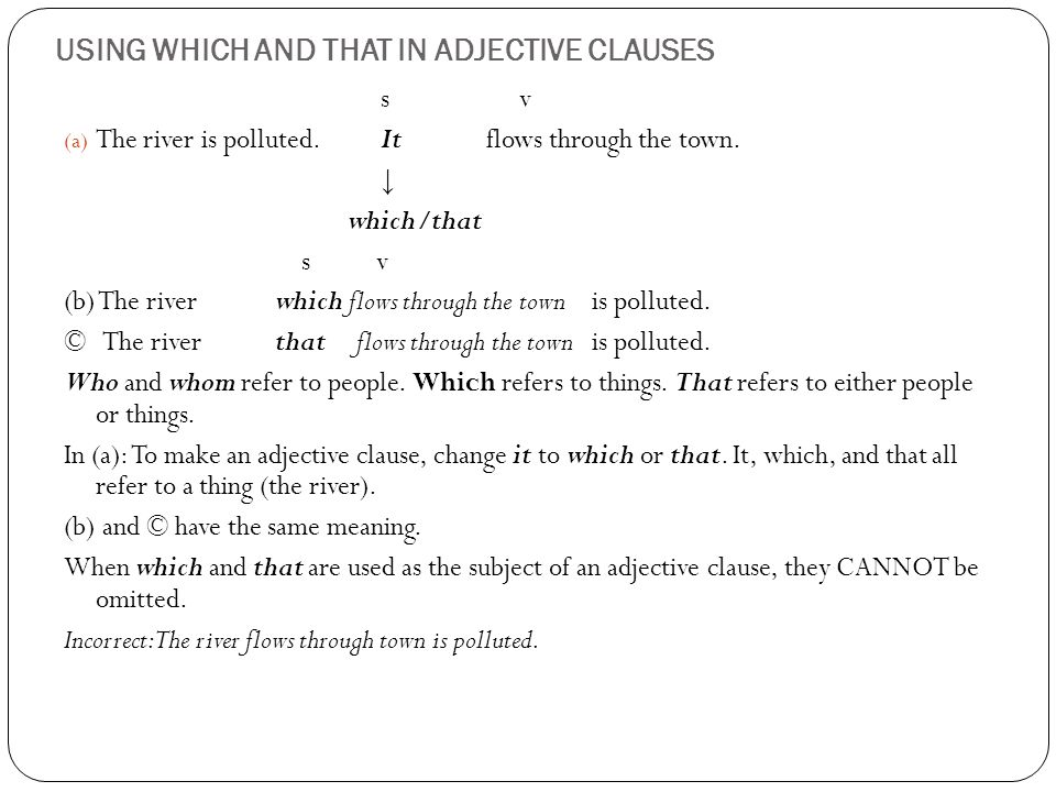 USING WHICH AND THAT IN ADJECTIVE CLAUSES s v (a) The river is polluted.