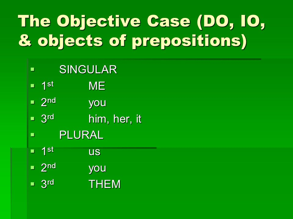 Direct objects, Indirect objects and Objects of prepositions…  are always in the OBJECTIVE form.