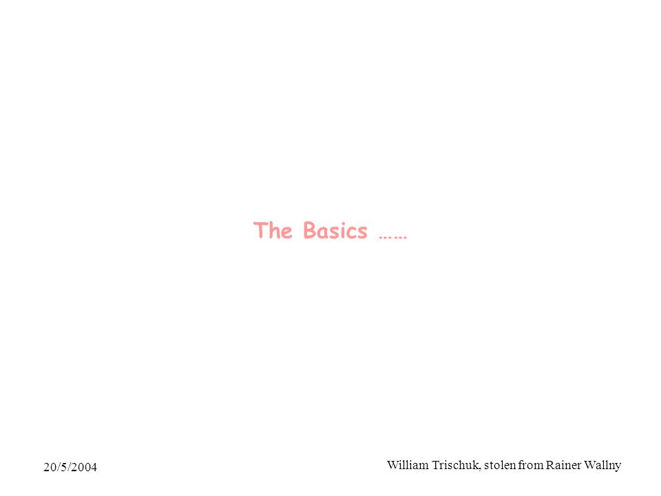 20/5/2004 William Trischuk, stolen from Rainer Wallny The Basics ……