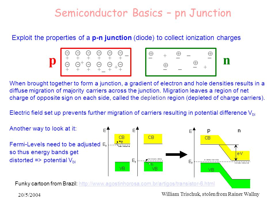 20/5/2004 William Trischuk, stolen from Rainer Wallny Exploit the properties of a p-n junction (diode) to collect ionization charges  + – +  – + + + + + + + + + +  –  –  – + + – + + – – – pn When brought together to form a junction, a gradient of electron and hole densities results in a diffuse migration of majority carriers across the junction.