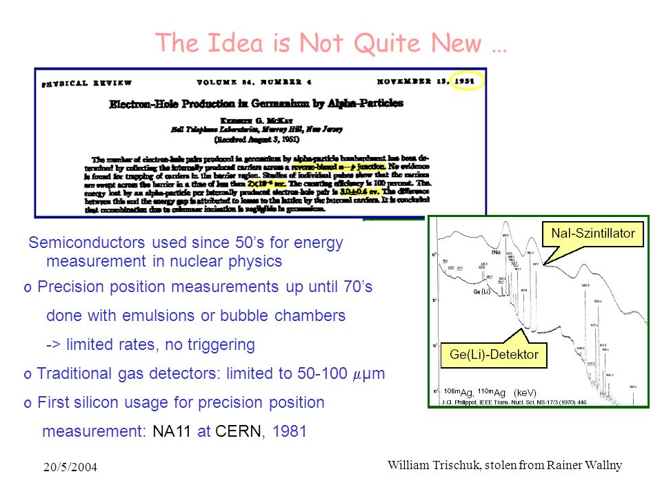 20/5/2004 William Trischuk, stolen from Rainer Wallny The Idea is Not Quite New … Semiconductors used since 50's for energy measurement in nuclear physics o Precision position measurements up until 70's done with emulsions or bubble chambers -> limited rates, no triggering o Traditional gas detectors: limited to 50-100  μm o First silicon usage for precision position measurement: NA11 at CERN, 1981