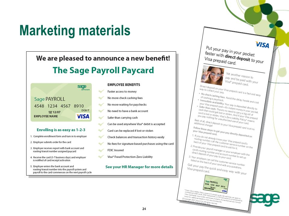 24 Marketing materials