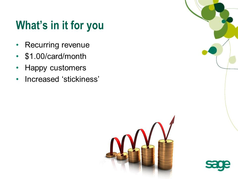 26 What's in it for you Recurring revenue $1.00/card/month Happy customers Increased 'stickiness'