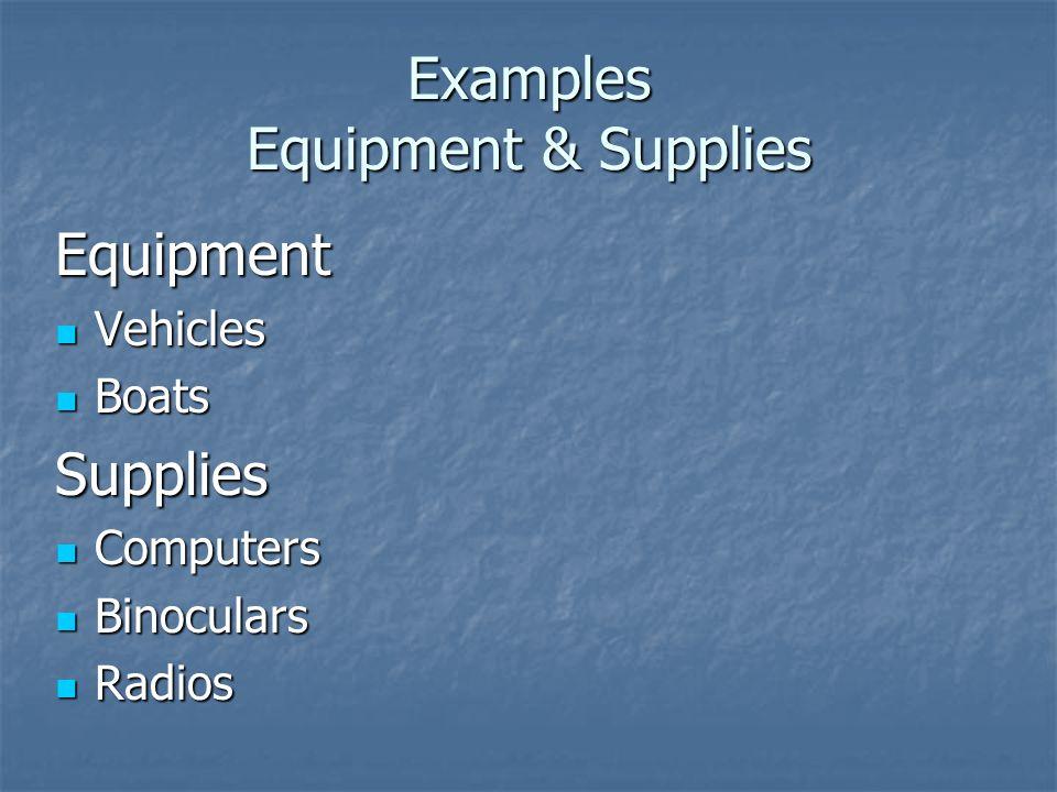 Examples Equipment & Supplies Equipment Vehicles Vehicles Boats BoatsSupplies Computers Computers Binoculars Binoculars Radios Radios