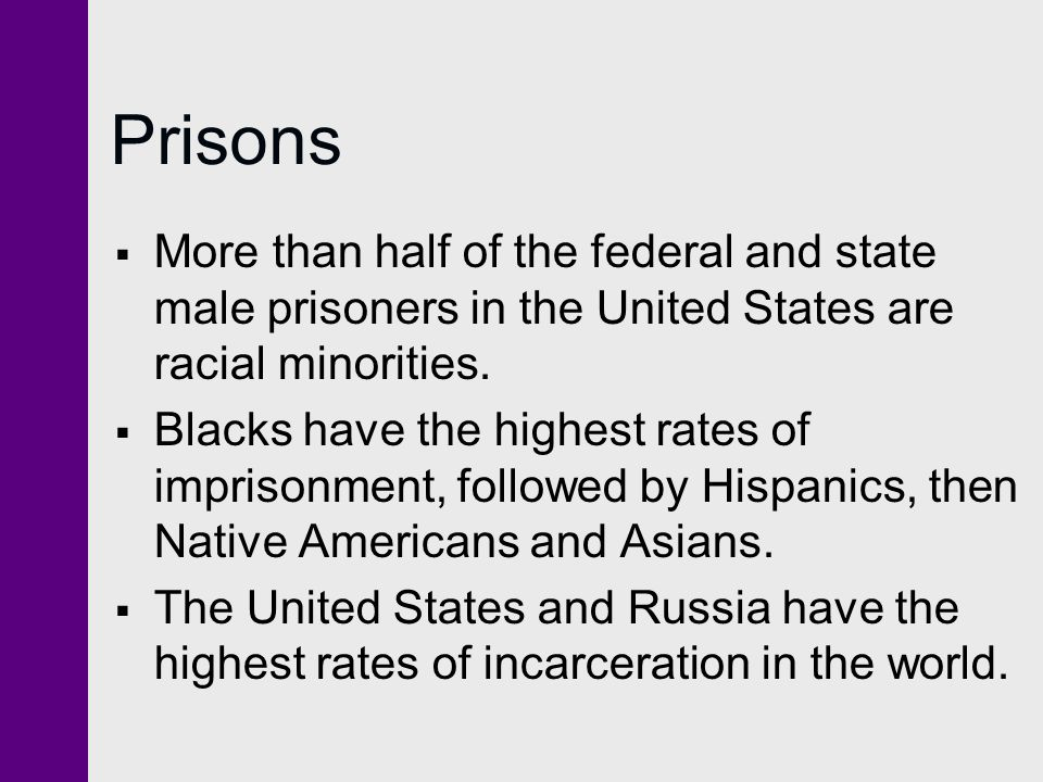 Prisons  More than half of the federal and state male prisoners in the United States are racial minorities.  Blacks have the highest rates of impris