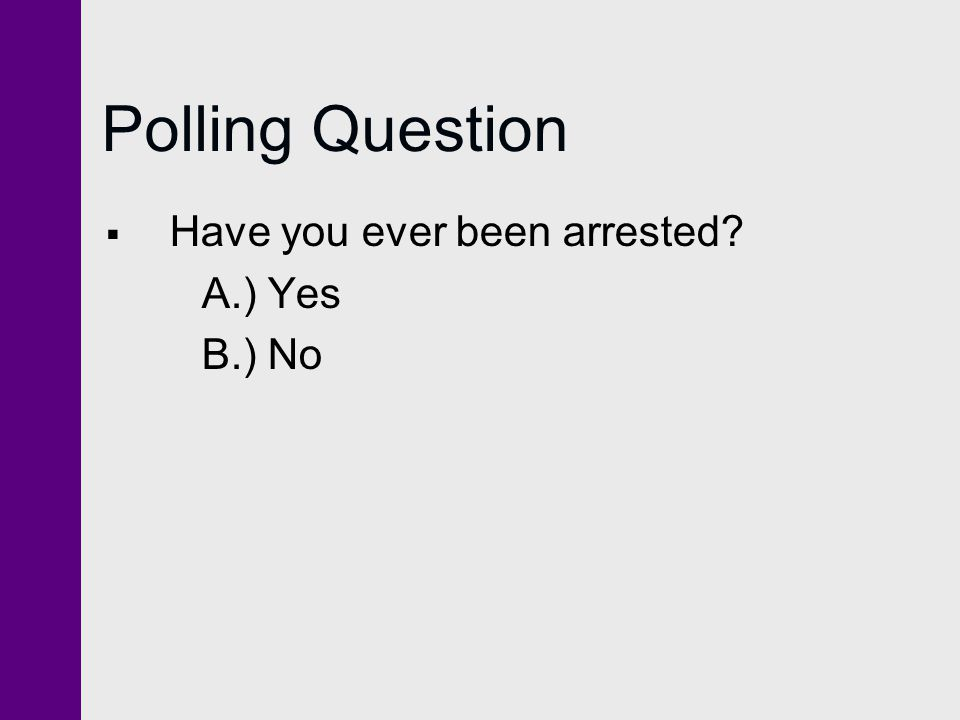 Polling Question  Have you ever been arrested? A.) Yes B.) No