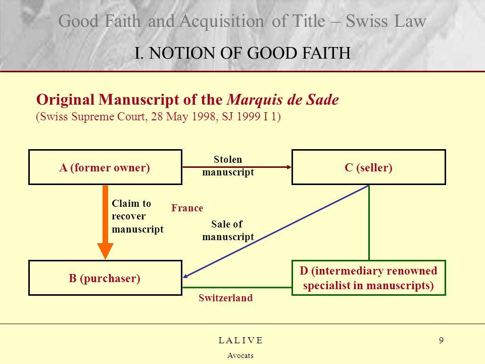 9 Titre Sous-titre L A L I V E Avocats Original Manuscript of the Marquis de Sade (Swiss Supreme Court, 28 May 1998, SJ 1999 I 1) Good Faith and Acquisition of Title – Swiss Law I.