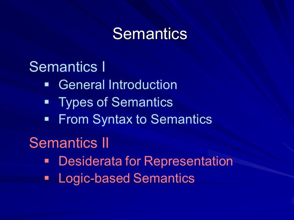 Semantics I