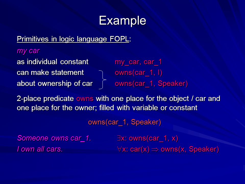 Example Primitives in logic language FOPL: my car as individual constant my_car, car_1 can make statement owns(car_1, I) about ownership of carowns(ca