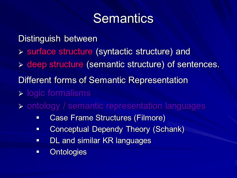 Semantics Distinguish between  surface structure (syntactic structure) and  deep structure (semantic structure) of sentences. Different forms of Sem