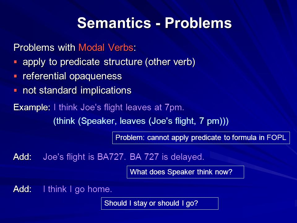 Semantics - Problems Problems with Modal Verbs:  apply to predicate structure (other verb)  referential opaqueness  not standard implications Examp