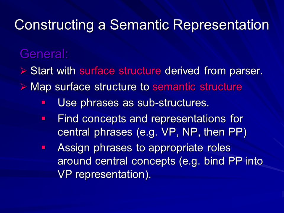 Constructing a Semantic Representation General:  Start with surface structure derived from parser.  Map surface structure to semantic structure  Us