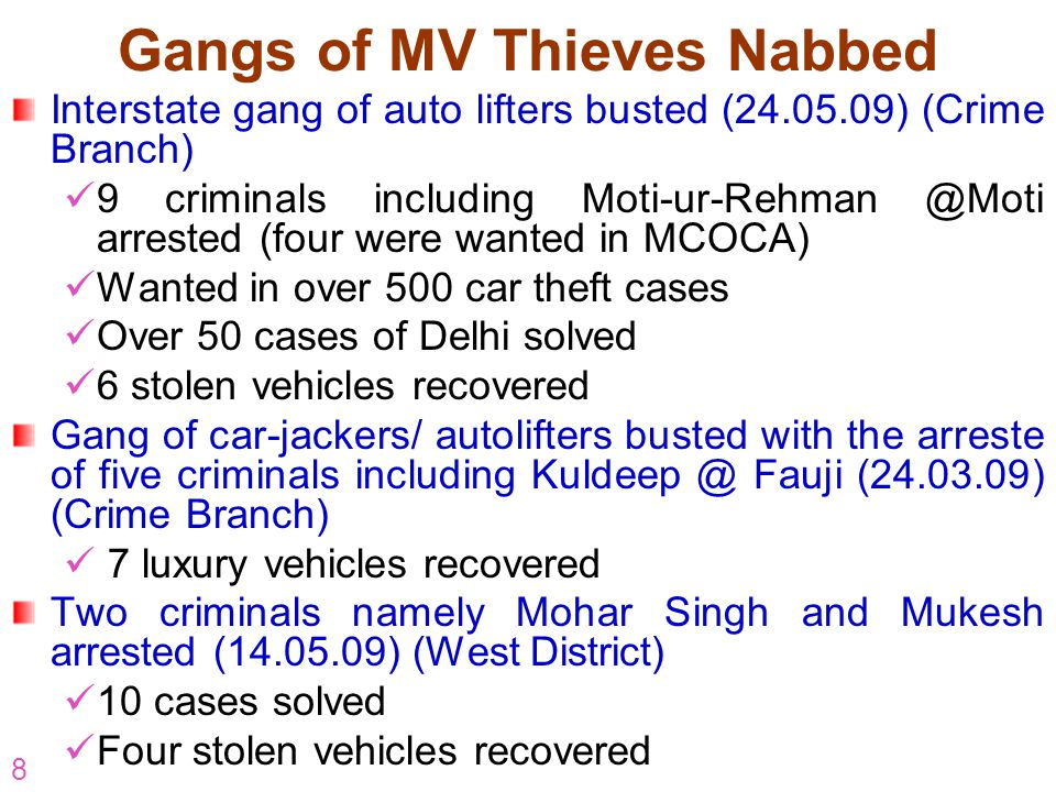 8 Gangs of MV Thieves Nabbed Interstate gang of auto lifters busted (24.05.09) (Crime Branch) 9 criminals including Moti-ur-Rehman @Moti arrested (four were wanted in MCOCA) Wanted in over 500 car theft cases Over 50 cases of Delhi solved 6 stolen vehicles recovered Gang of car-jackers/ autolifters busted with the arreste of five criminals including Kuldeep @ Fauji (24.03.09) (Crime Branch) 7 luxury vehicles recovered Two criminals namely Mohar Singh and Mukesh arrested (14.05.09) (West District) 10 cases solved Four stolen vehicles recovered