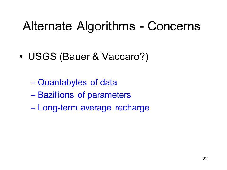 22 Alternate Algorithms - Concerns USGS (Bauer & Vaccaro ) –Quantabytes of data –Bazillions of parameters –Long-term average recharge
