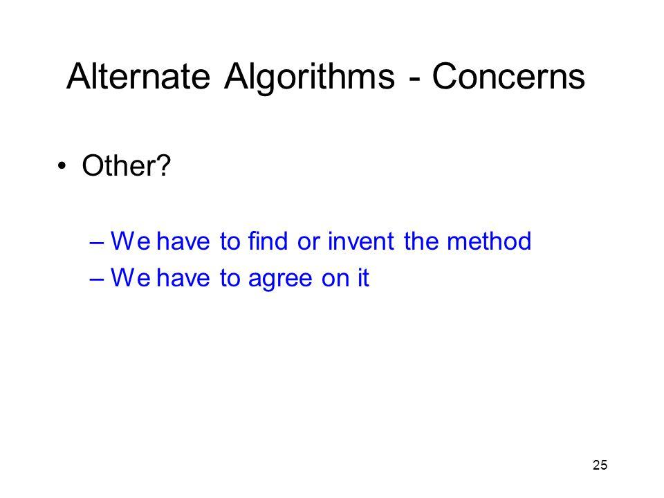 25 Alternate Algorithms - Concerns Other.