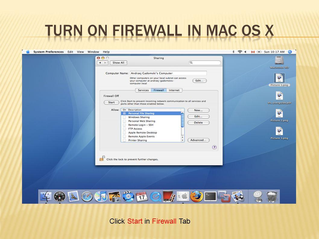 Click Start in Firewall Tab