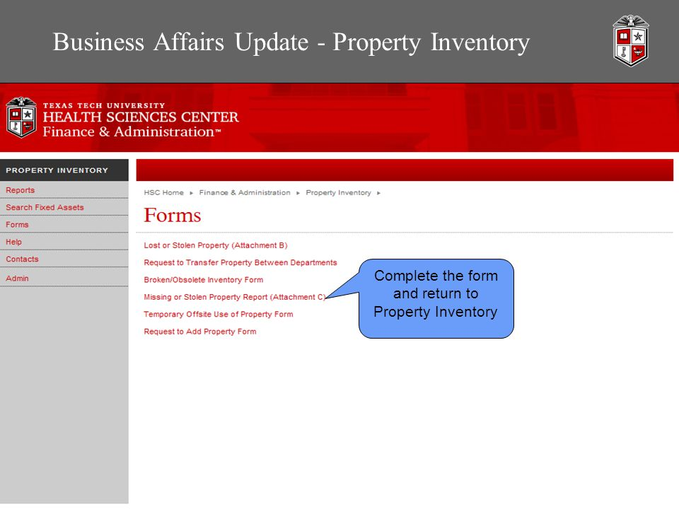 Business Affairs Update - Property Inventory Complete the form and return to Property Inventory