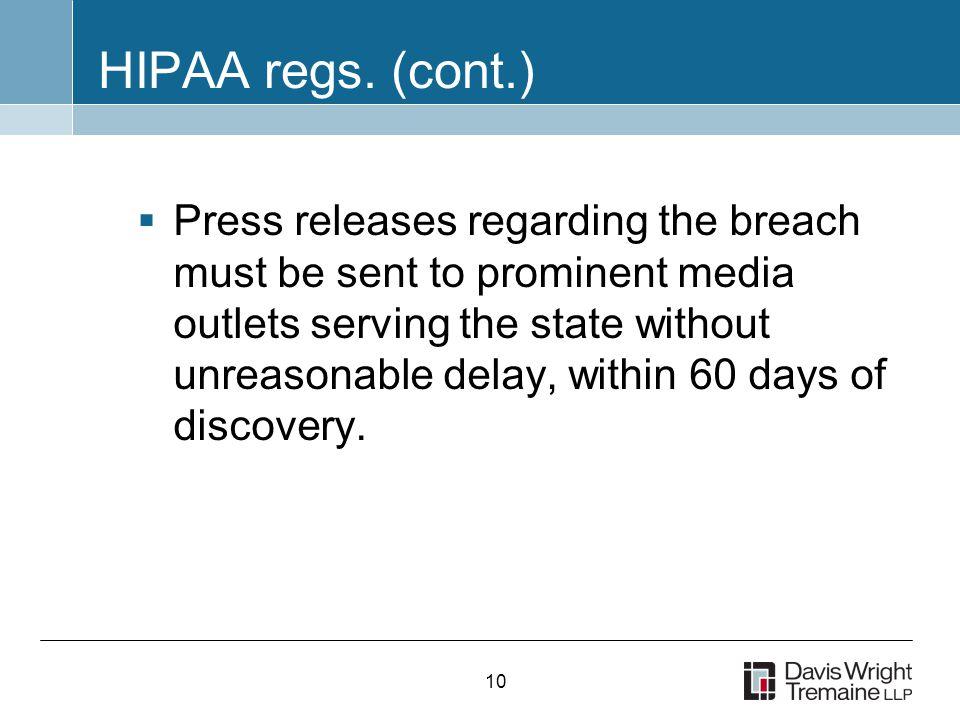 10 HIPAA regs.