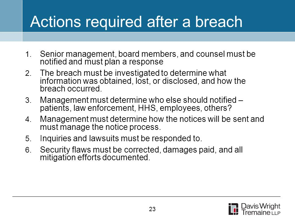 23 Actions required after a breach 1.