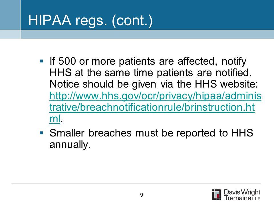 9 HIPAA regs.