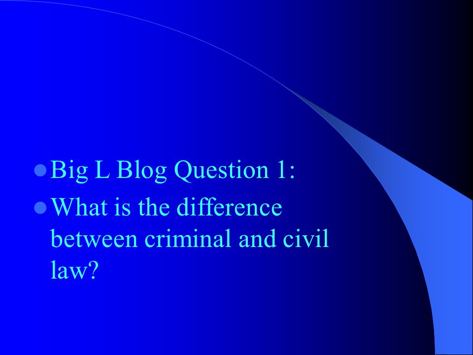 Big L Blog Question 1: What is the difference between criminal and civil law