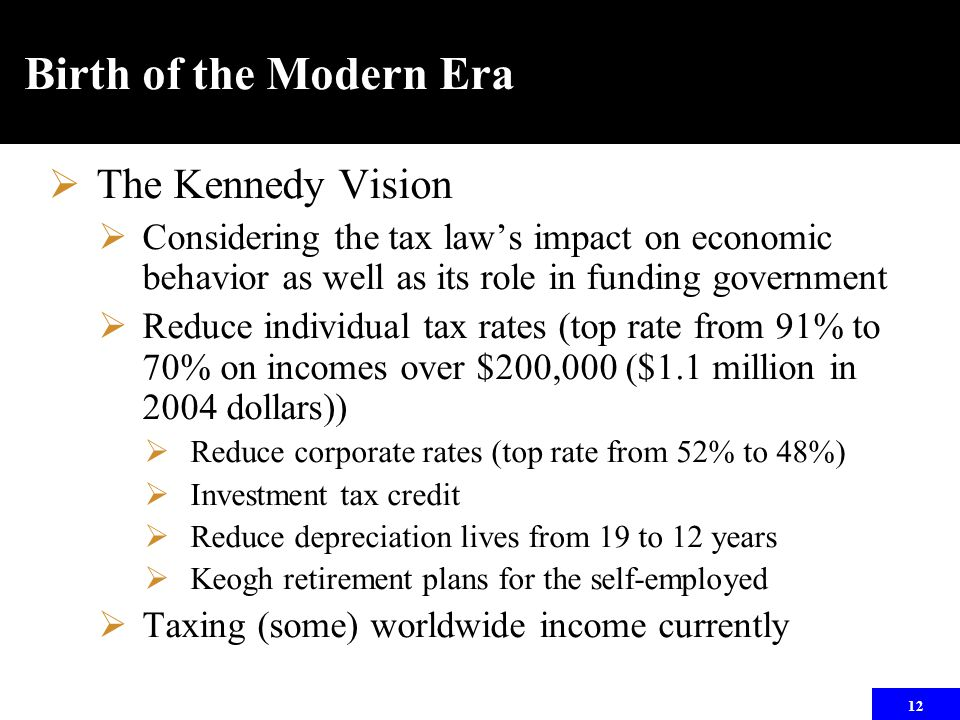 12 Birth of the Modern Era  The Kennedy Vision  Considering the tax law's impact on economic behavior as well as its role in funding government  Re